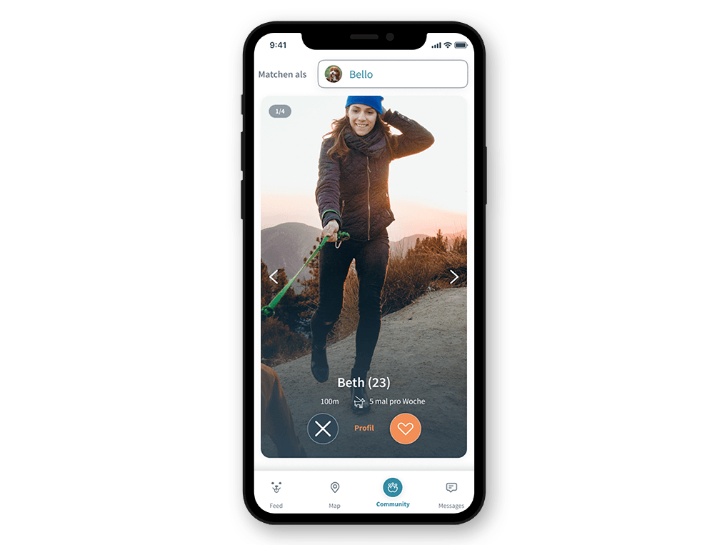 Patzo Hunde App: Matching-Profil swipen Tinder